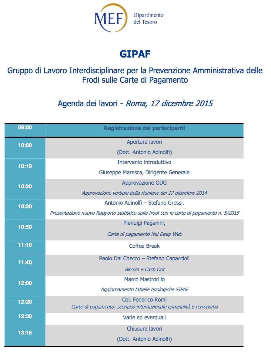 GIPAF presso il Ministero dell'Economia e delle Finanze