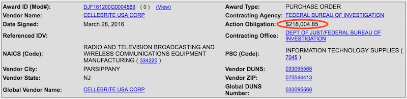 DJF161200G0004569 Cellebrite FBI Purchase Order