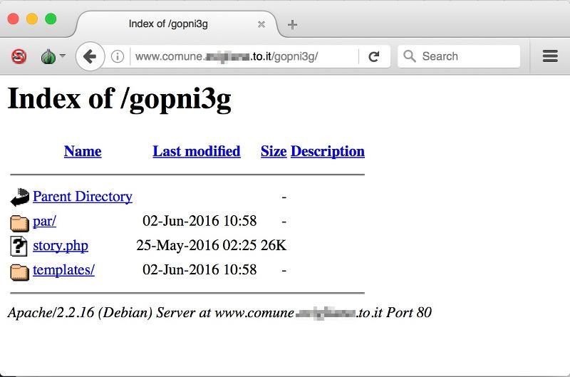 Folder gopni3g tramite directory listing sul webserver