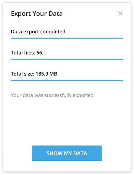 Esportazione chat, gruppi, bot e canali Telegram completata