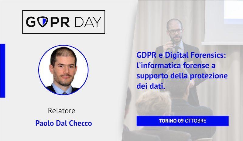 Forensic Readiness al GDPR Day di Torino