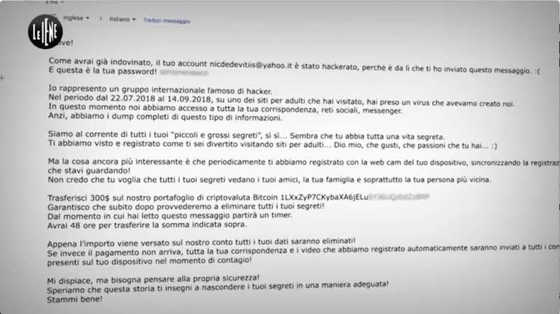 Email con truffa estorsione ricatto in bitcoin