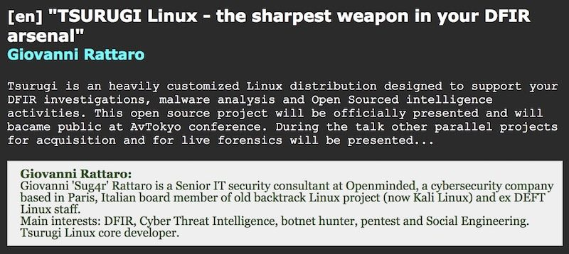 Tsurugi Linux ad AVTokio Conference in Giappone