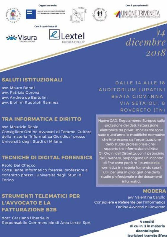 Convegno Ordine Avvocati a Rovereto su Diritto, Informatica Forense e Fatturazione Elettronica