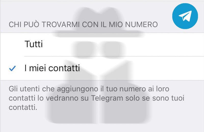 Telegram - Chi puo' trovarmi con il mio numero