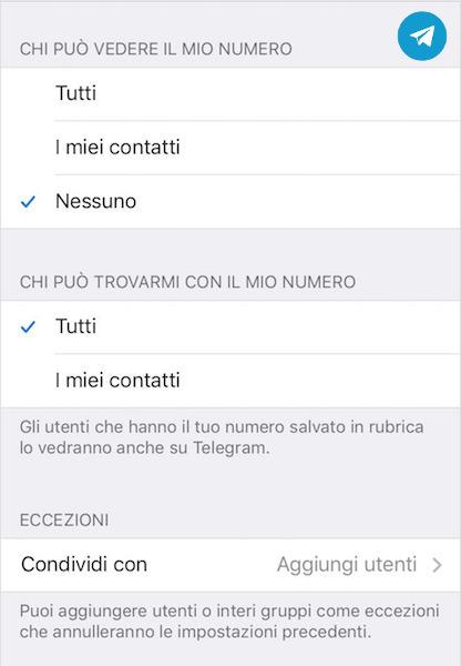 Come nascondere il numero di telefono ai contatti Telegram