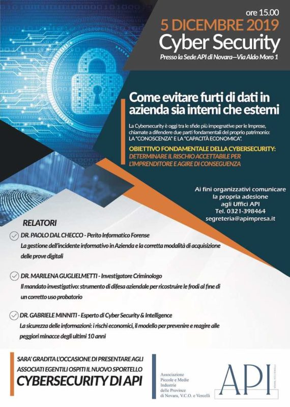 Conferenza a Novara su Cybersecurity by API