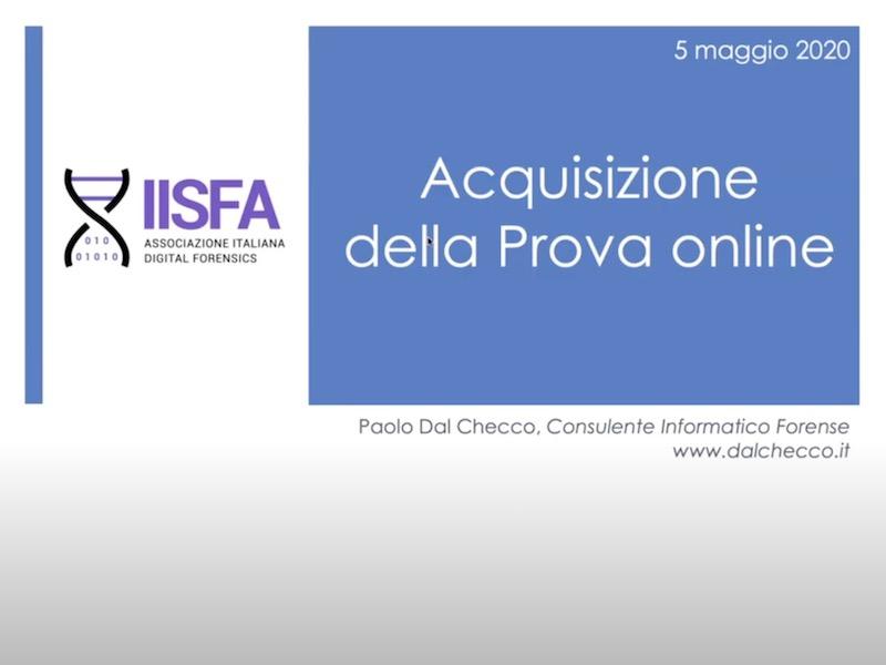 Seminario IISFA su acquisizione forense di siti web e prove online