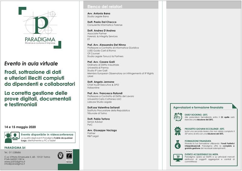 Conferenza su acquisizione prove digitali e indagini su frodi del dipendente infedele