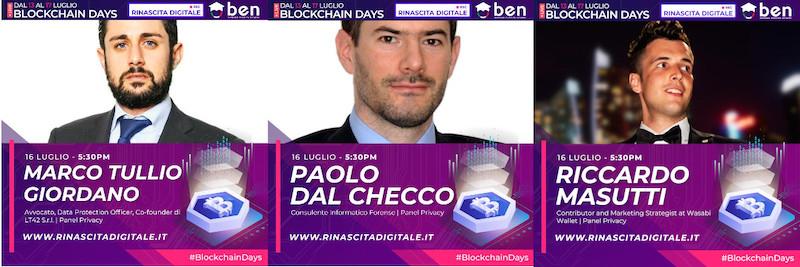 BlockchainDays - Privacy e criptomonete - Marco Tullio Giordano, Riccardo Masutti, Paolo Dal Checco