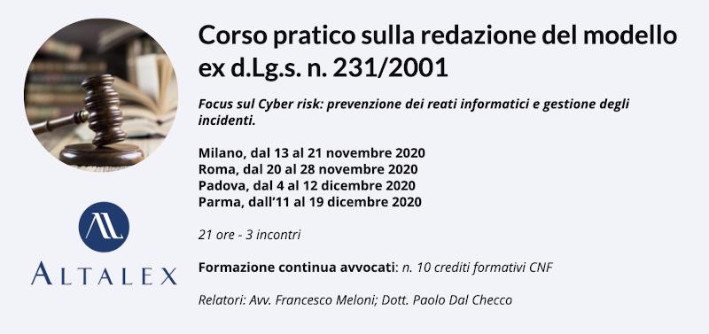 Corso Altalex sulla redazione del Modello Organizzativo ex d.Lg.s. 231/200