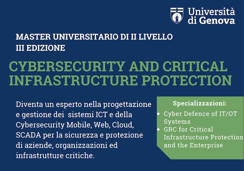 Master in Cybersecurity and Critical Infrastructure Protection per UniGE