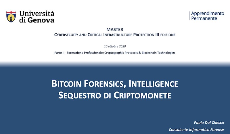 Master in Cybersecurity and Critical Infrastructure Protection per Università di Genova