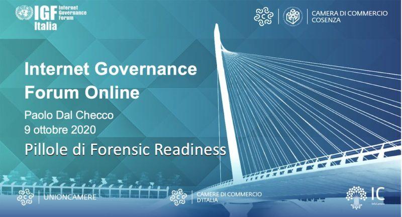 Pillole di Forensic Readiness - GDPR e Data Breach al IGF Forum di Torino