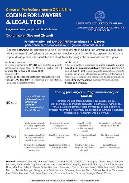 Corso di Perfezionamento in Coding for Lawyers & Legal Tech - Università di Milano