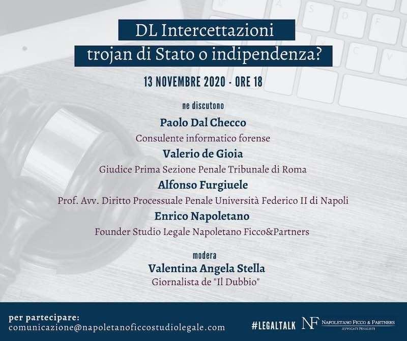 Napolitano Ficco and Partners - DL Intercettazioni, Trojan di Stato o Indipendenza?