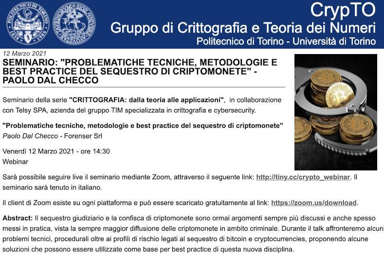 Politecnico di Torino e Telsy - Sequestro di Criptomonete e Bitcoin