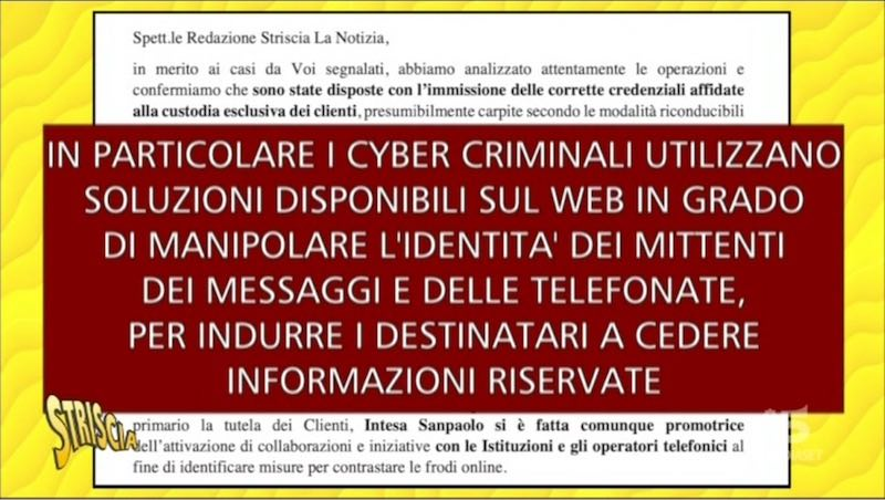 Spiegazione fornita da Intesa San Paolo a Striscia La Notizia delle truffe tramite telefonate o sms fraudolenti.