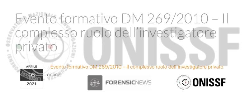 ONISSF - Investigatore Privato e Informatica Forense