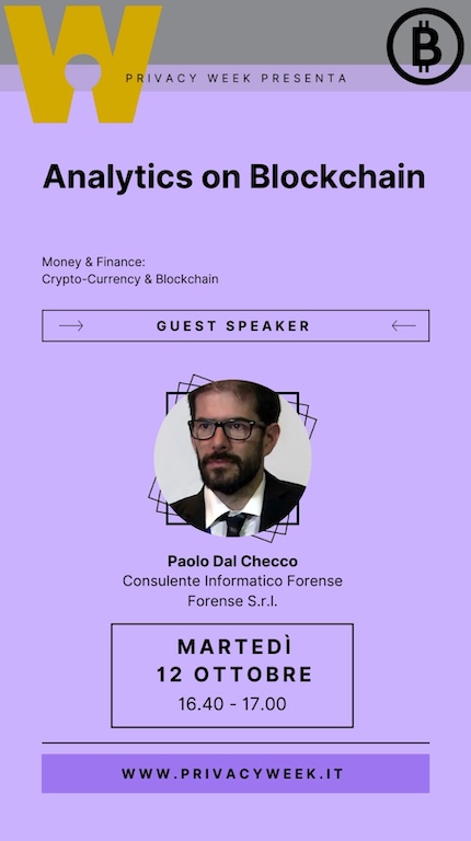 Analytics on Blockchain - Privacy Week - Paolo Dal Checco